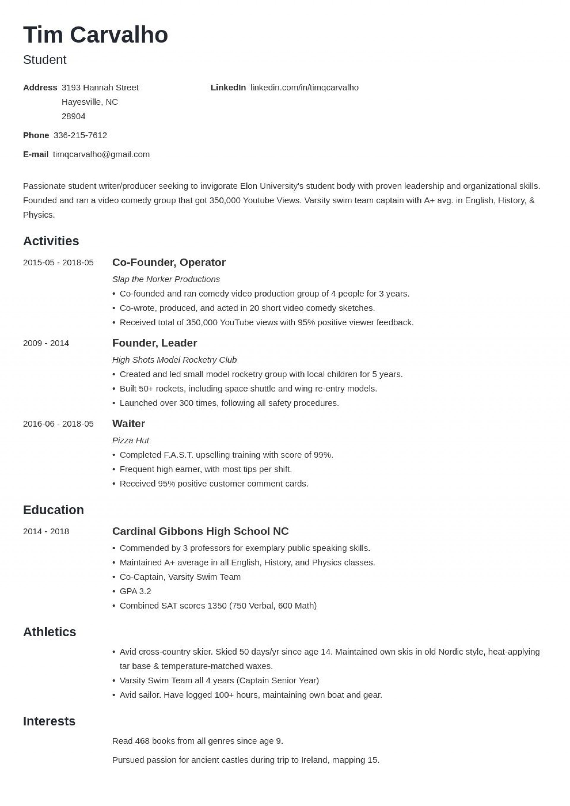 005 Formidable Resume For College Application Template Idea  Templates1920