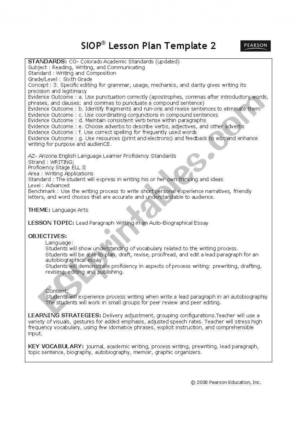 005 Formidable Siop Lesson Plan Example 1st Grade High Definition  FirstLarge