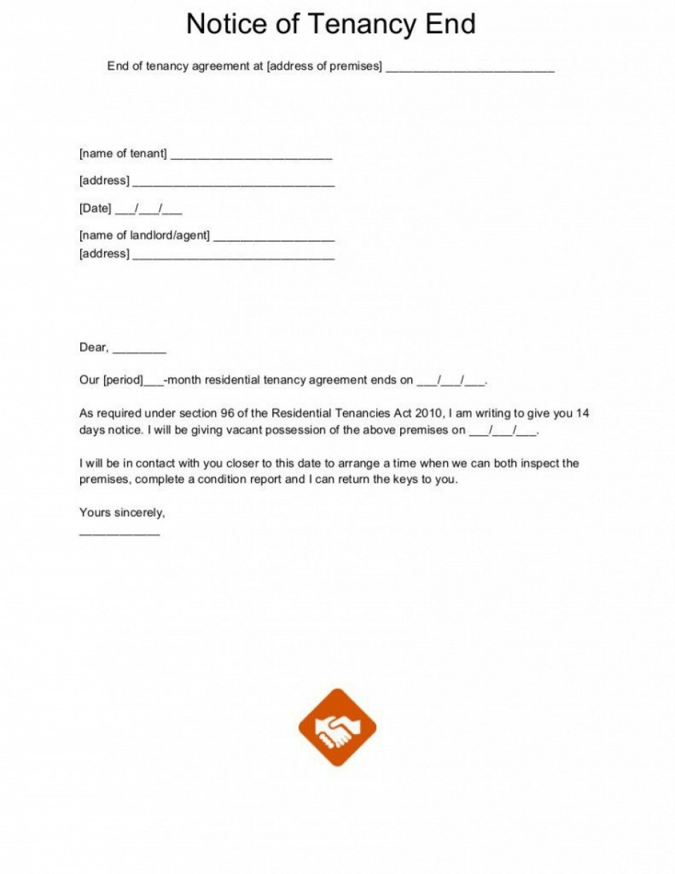 005 Formidable Template Letter To Terminate Rental Agreement Image  End Tenancy For Landlord Ending960