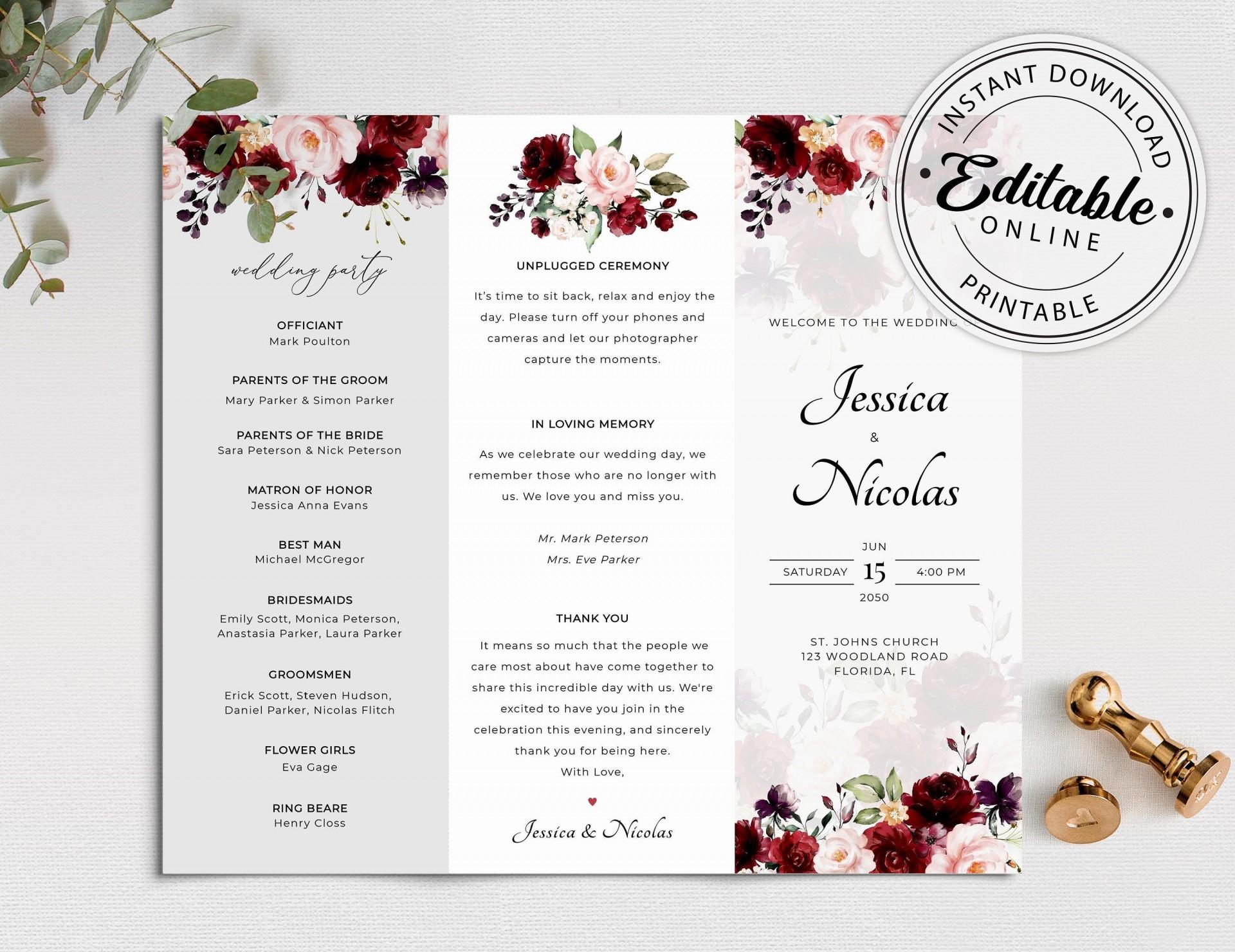 005 Formidable Trifold Wedding Program Template Inspiration  Templates Tri Fold Tri-fold Publisher Free Foldable1920