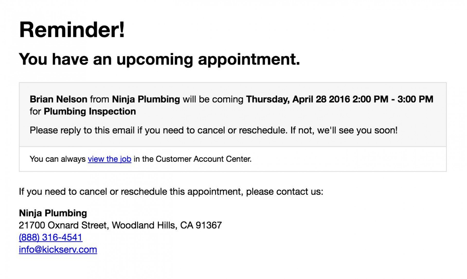 Appointment Reminder Email Template Addictionary