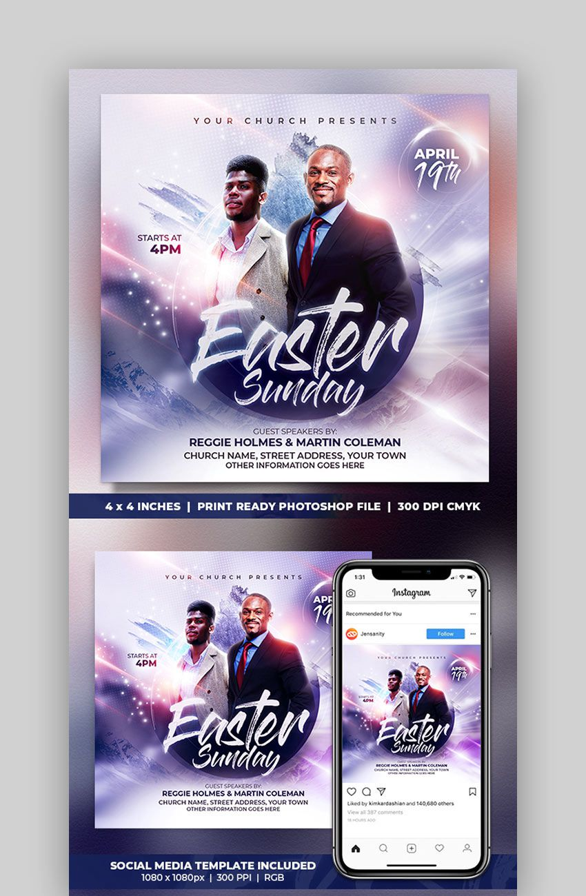 005 Frightening Church Flyer Template Free Example  Easter Anniversary Conference PsdFull