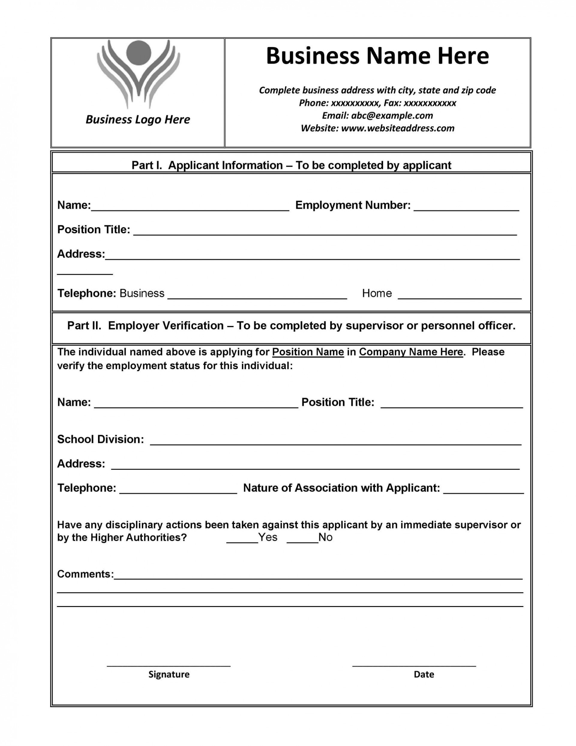 005 Frightening Employment Verification Form Template Image  Templates Previou Past Printable1920