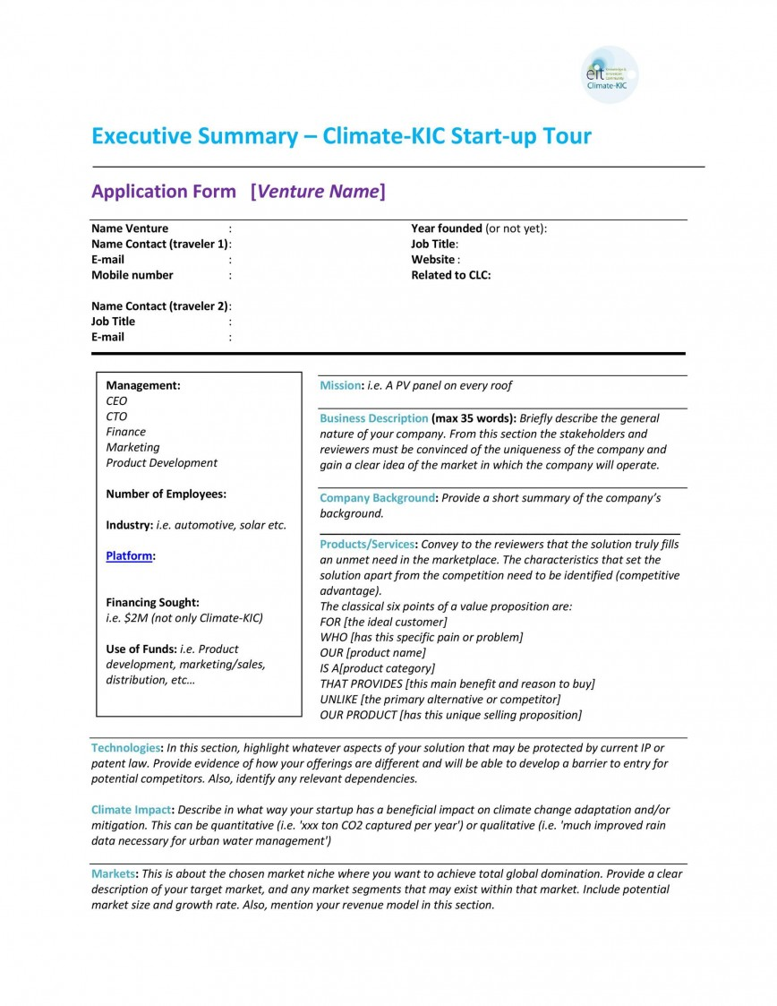 005 Frightening Executive Summary Template Doc High Def  Example Word For Healthcare Document Sample