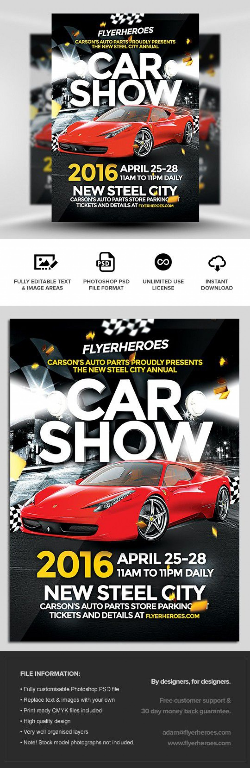005 Frightening Free Car Show Flyer Template Inspiration  Psd And BikeLarge