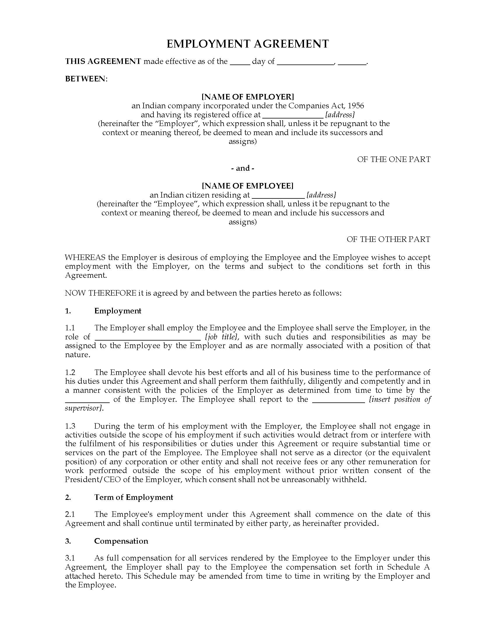 005 Frightening Free Employment Agreement Template Nz Design Full