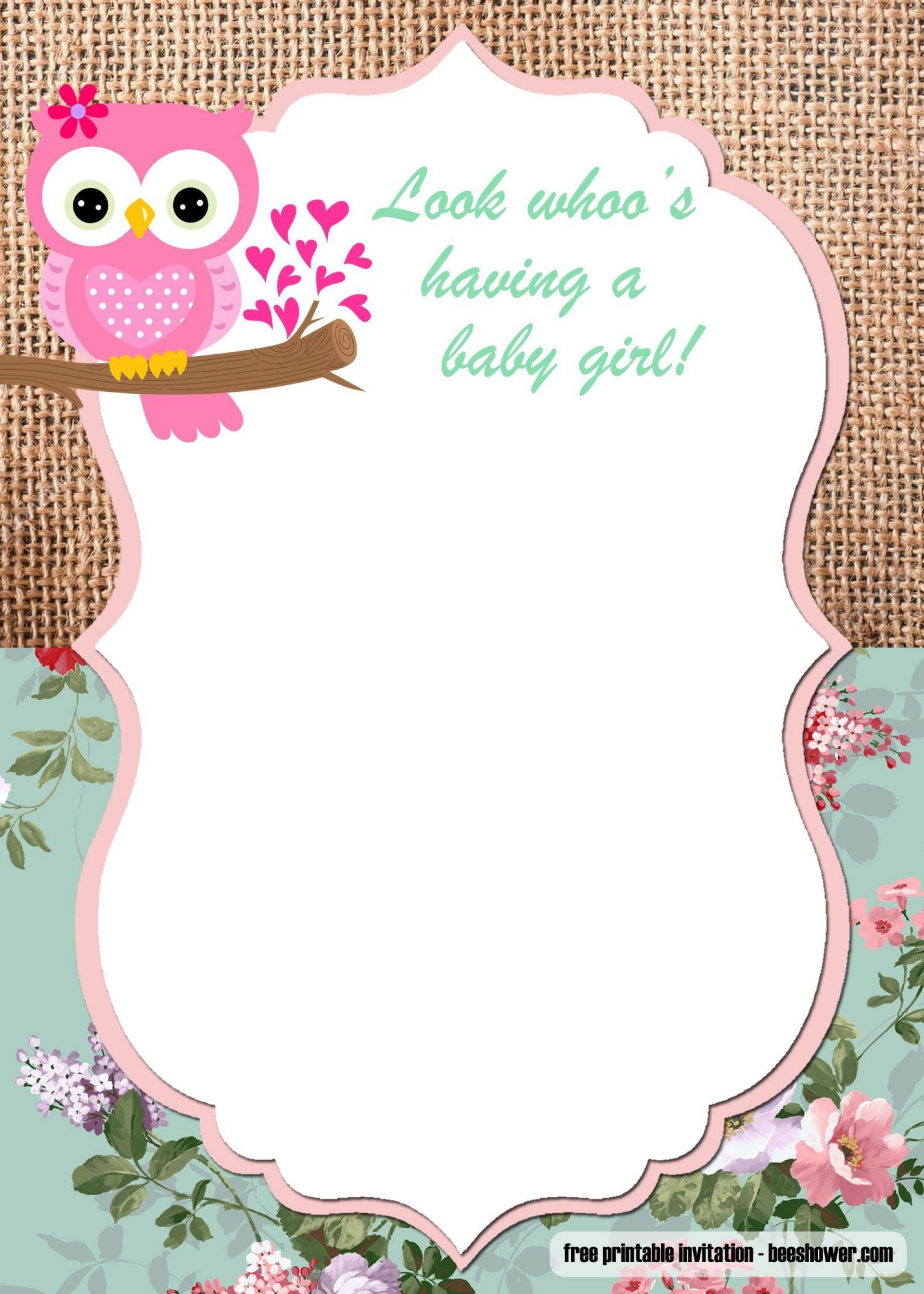 005 Frightening Free Girl Baby Shower Invitation To Print Highest Quality  Printable Twin1920