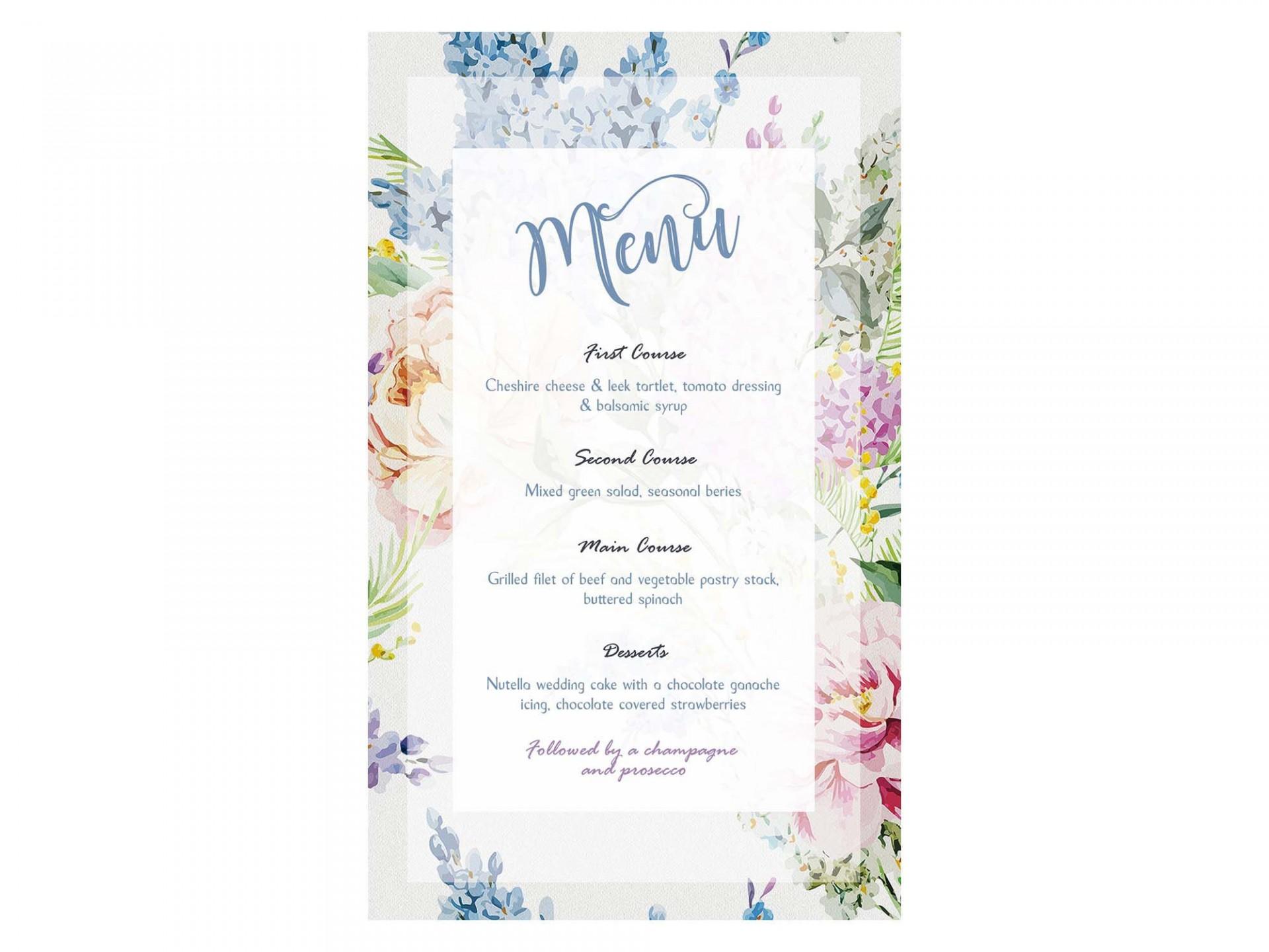 005 Frightening Free Printable Wedding Menu Card Template Example  Templates1920