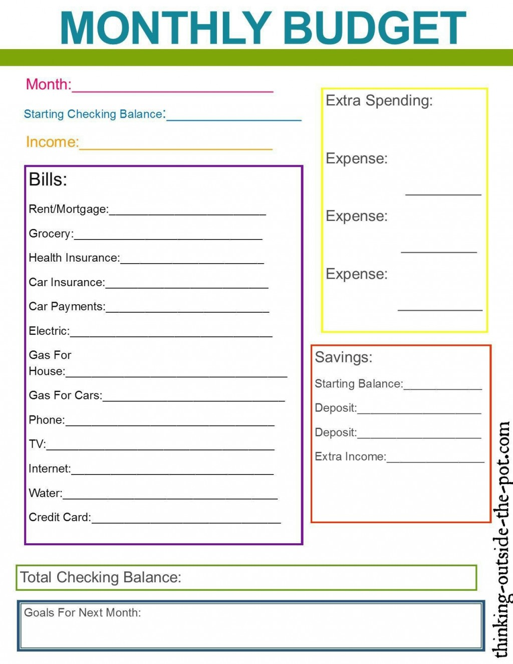 005 Frightening Monthly Budget Template Excel 2007 Example  PersonalLarge