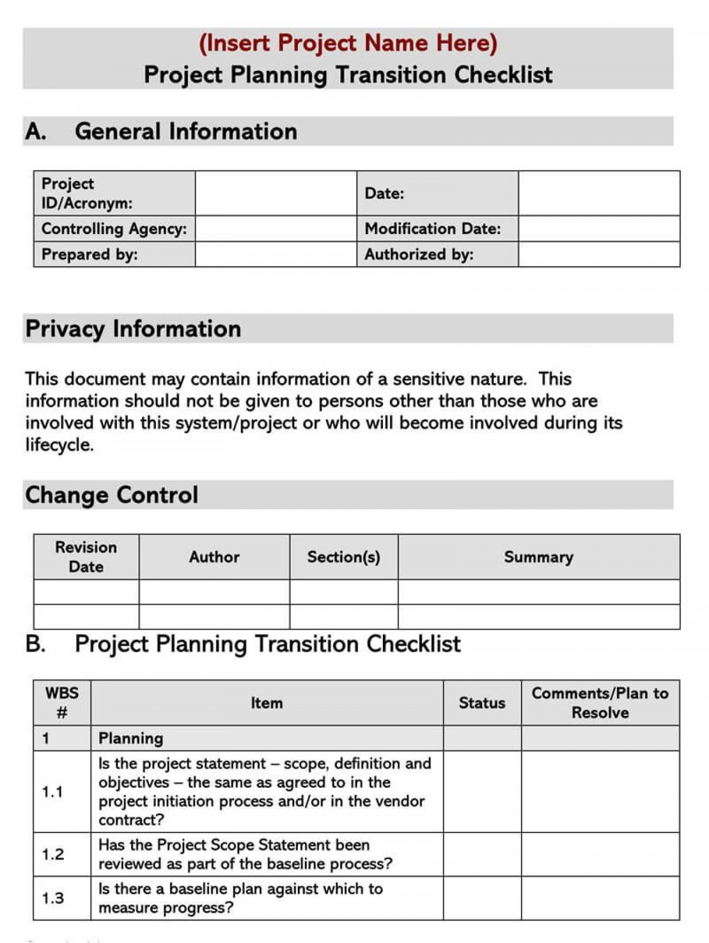 005 Frightening Project Transition Plan Sample Concept  Template Ppt Out1400