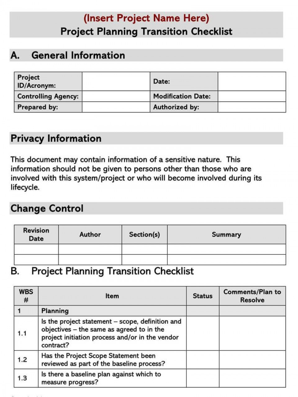 005 Frightening Project Transition Plan Sample Concept  Template Ppt Out960
