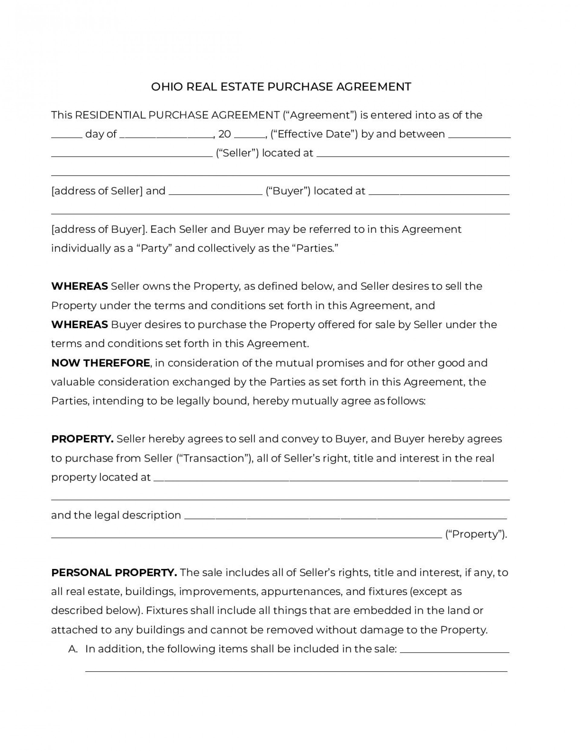 005 Frightening Purchase Agreement Template Real Estate Concept  Pdf Sale New Brunswick1920