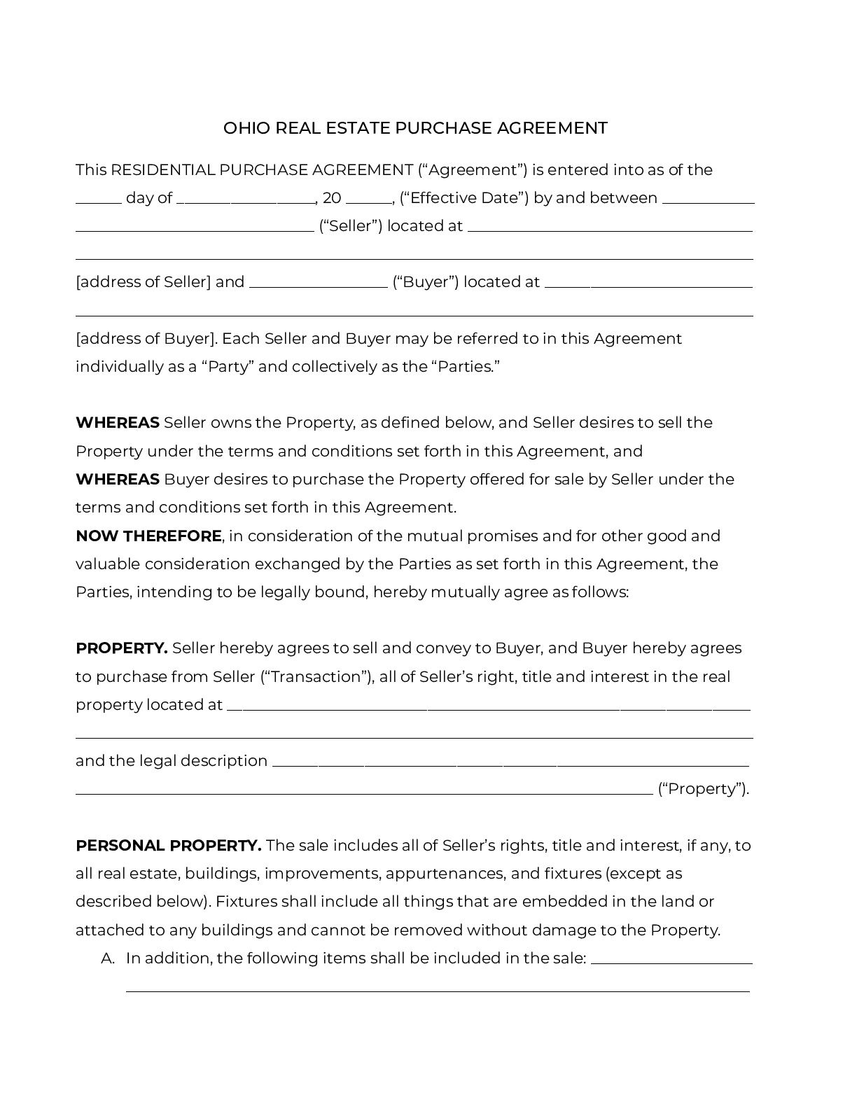 005 Frightening Purchase Agreement Template Real Estate Concept  Pdf Sale New BrunswickFull