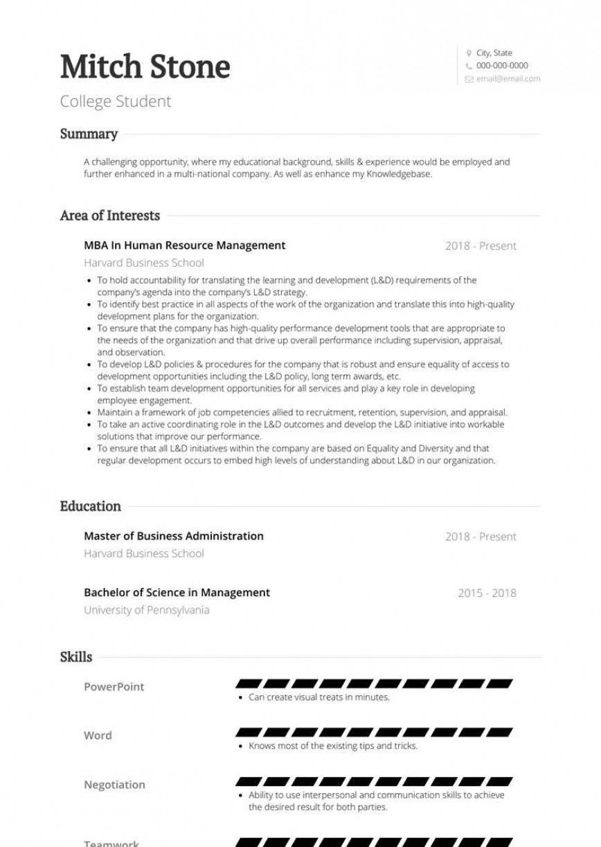 005 Frightening Resume Template For Student Photo  Students College Internship Free Page Download