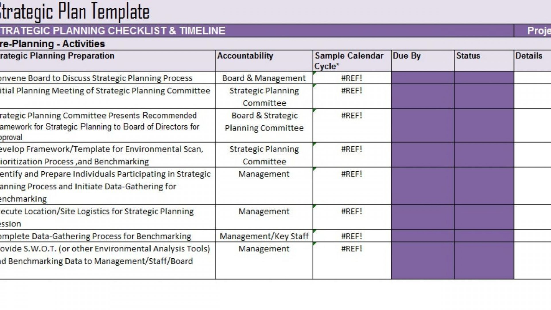 005 Frightening Strategic Plan Template Excel Design  Action Communication1920
