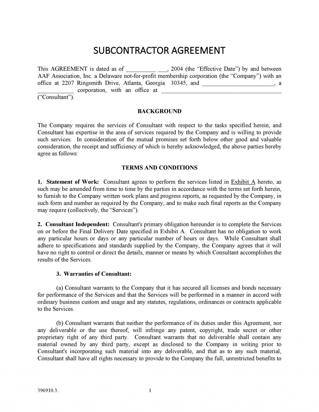 005 Frightening Subcontractor Agreement Template Free Design  Construction WordLarge