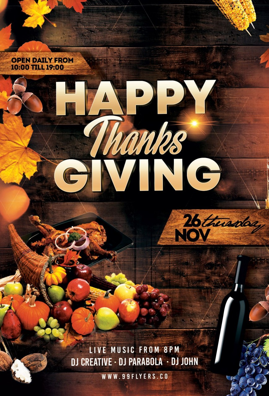 005 Frightening Thanksgiving Flyer Template Free Concept  Party Microsoft