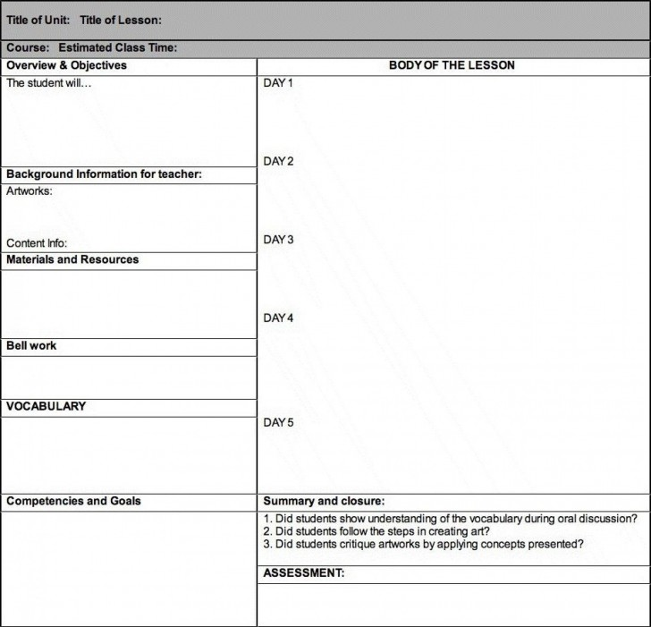 005 Frightening Weekly Lesson Plan Template High School Image  Free Example For English Pdf Of Junior728