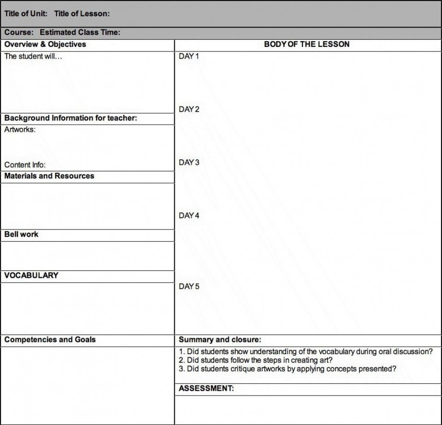 005 Frightening Weekly Lesson Plan Template High School Image  Free Example For English Pdf Of Junior868