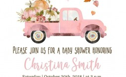 005 Imposing Baby Shower Invitation Girl Pumpkin Design  Pink Little