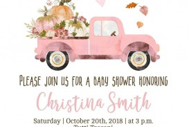 005 Imposing Baby Shower Invitation Girl Pumpkin Design  Little
