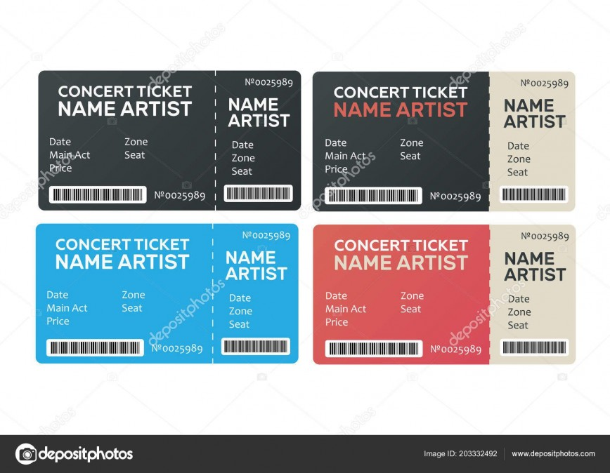 005 Imposing Concert Ticket Template Word Picture  Microsoft Free Download