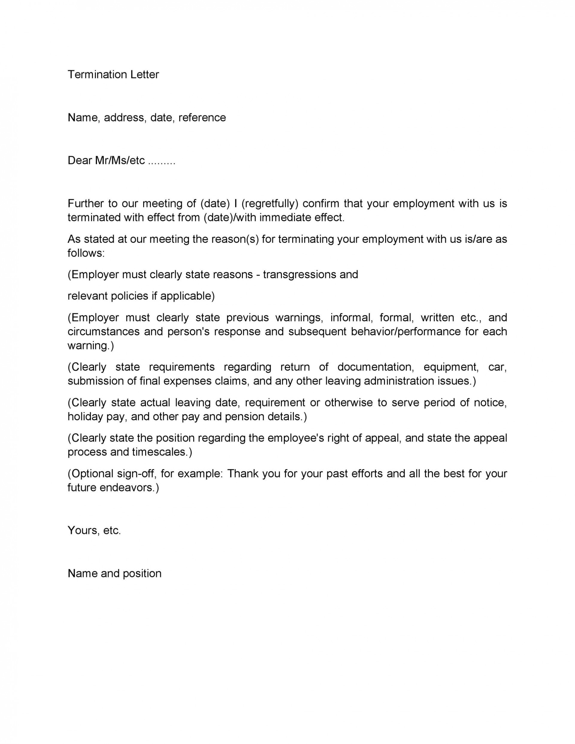 Employment Termination Letter Example from www.addictionary.org