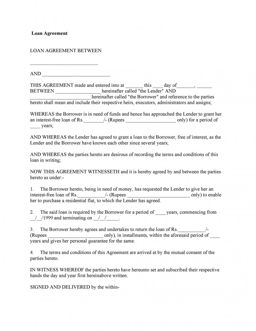 005 Imposing Free Family Loan Agreement Template Nz Image 868