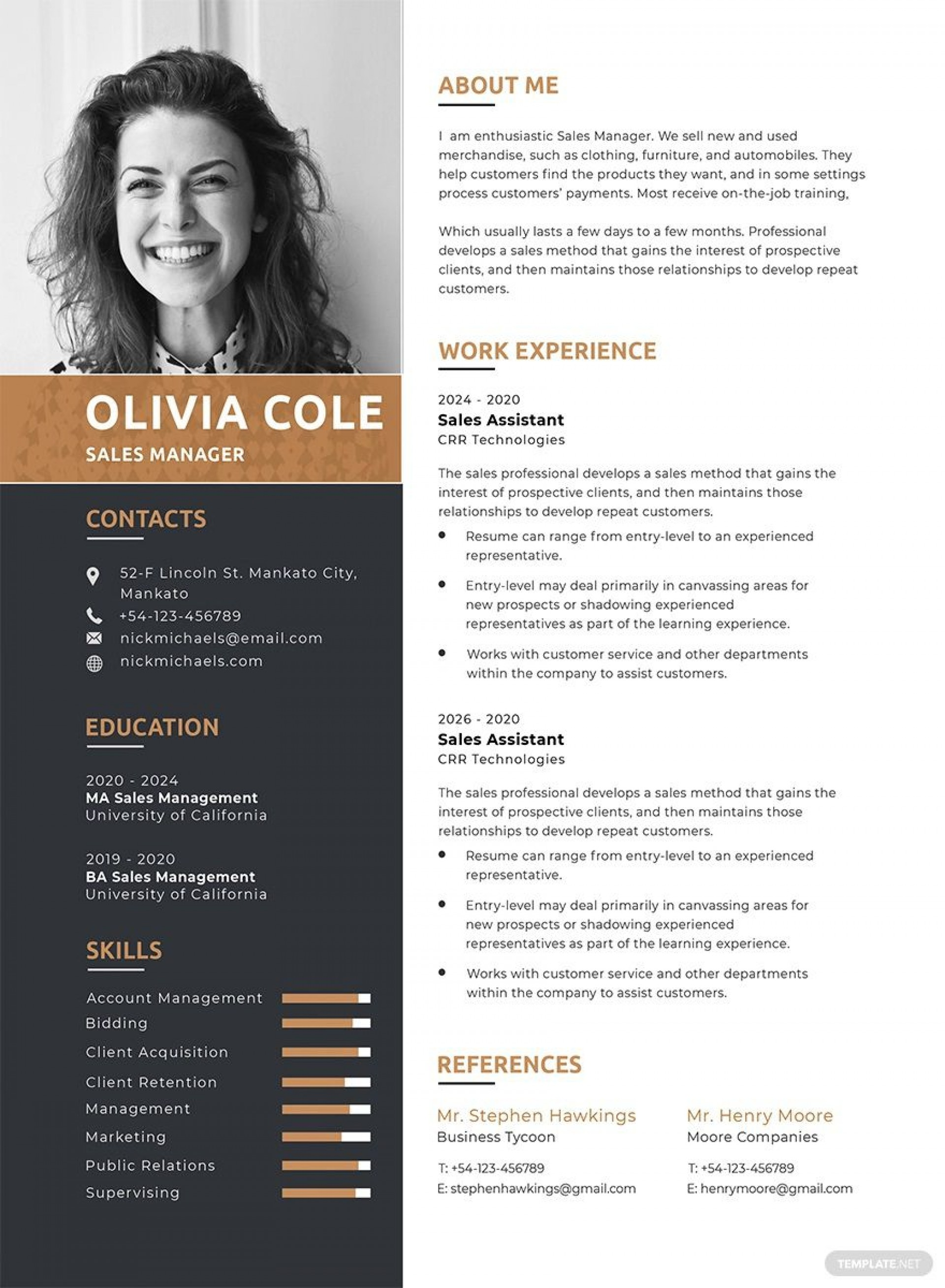 005 Imposing Free One Page Resume Template Highest Quality  Word Download 2018 Best1920