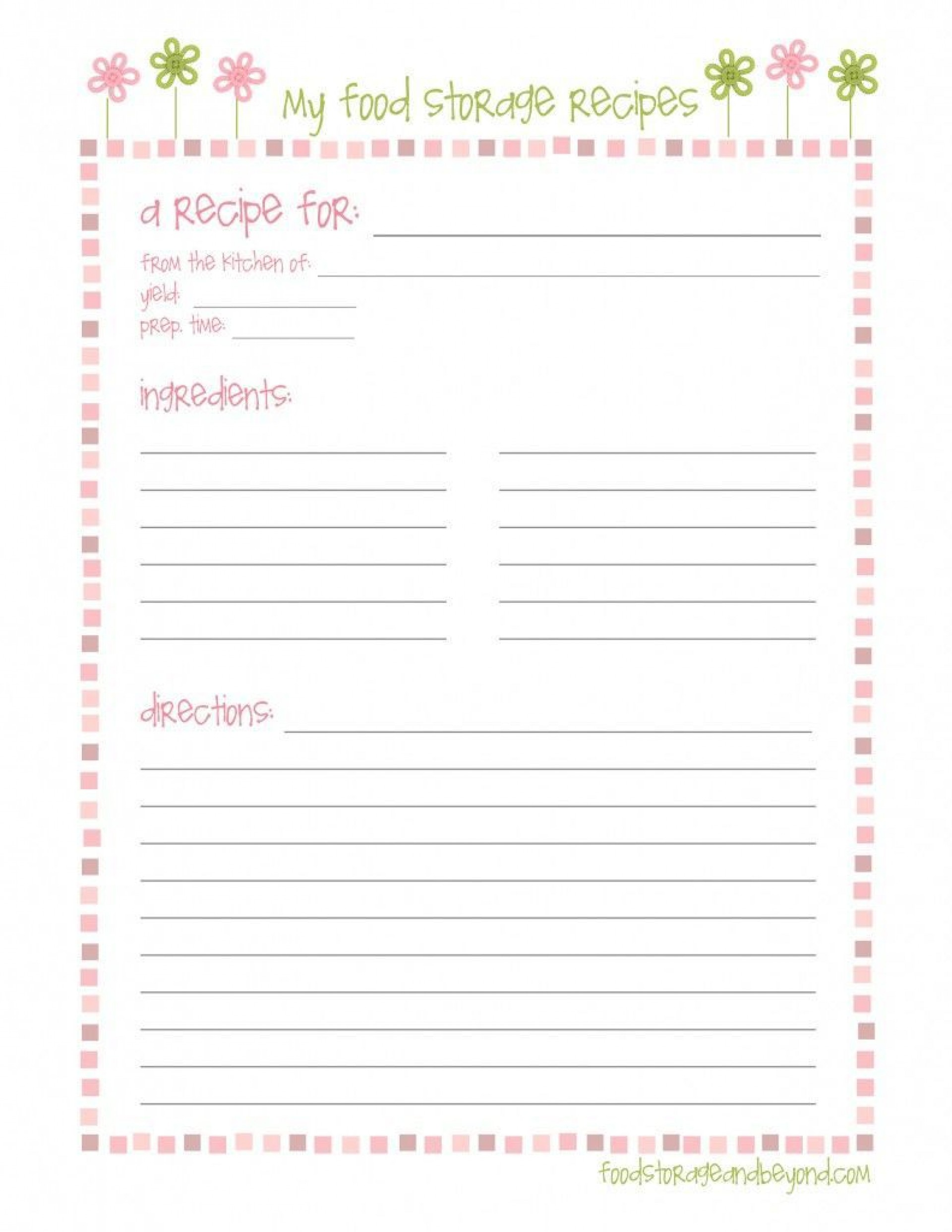 005 Imposing Full Page Recipe Template Inspiration  Card For Word Free Editable1920