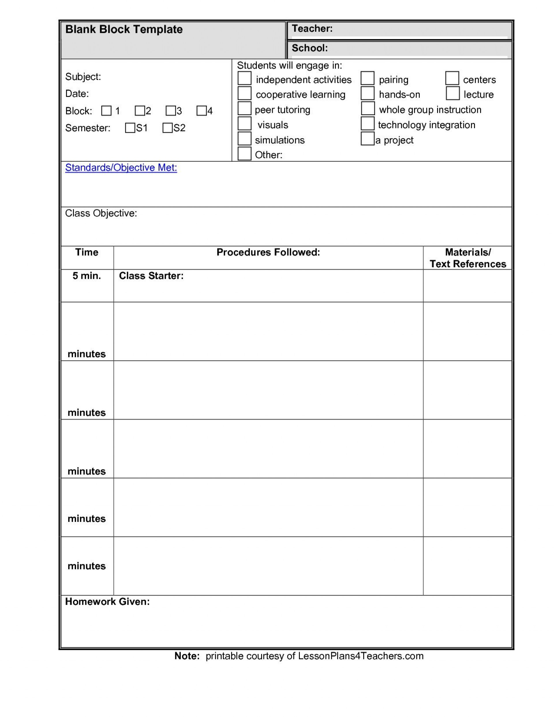 005 Imposing Lesson Plan Template High School Highest Quality  Secondary Sample English Science1920