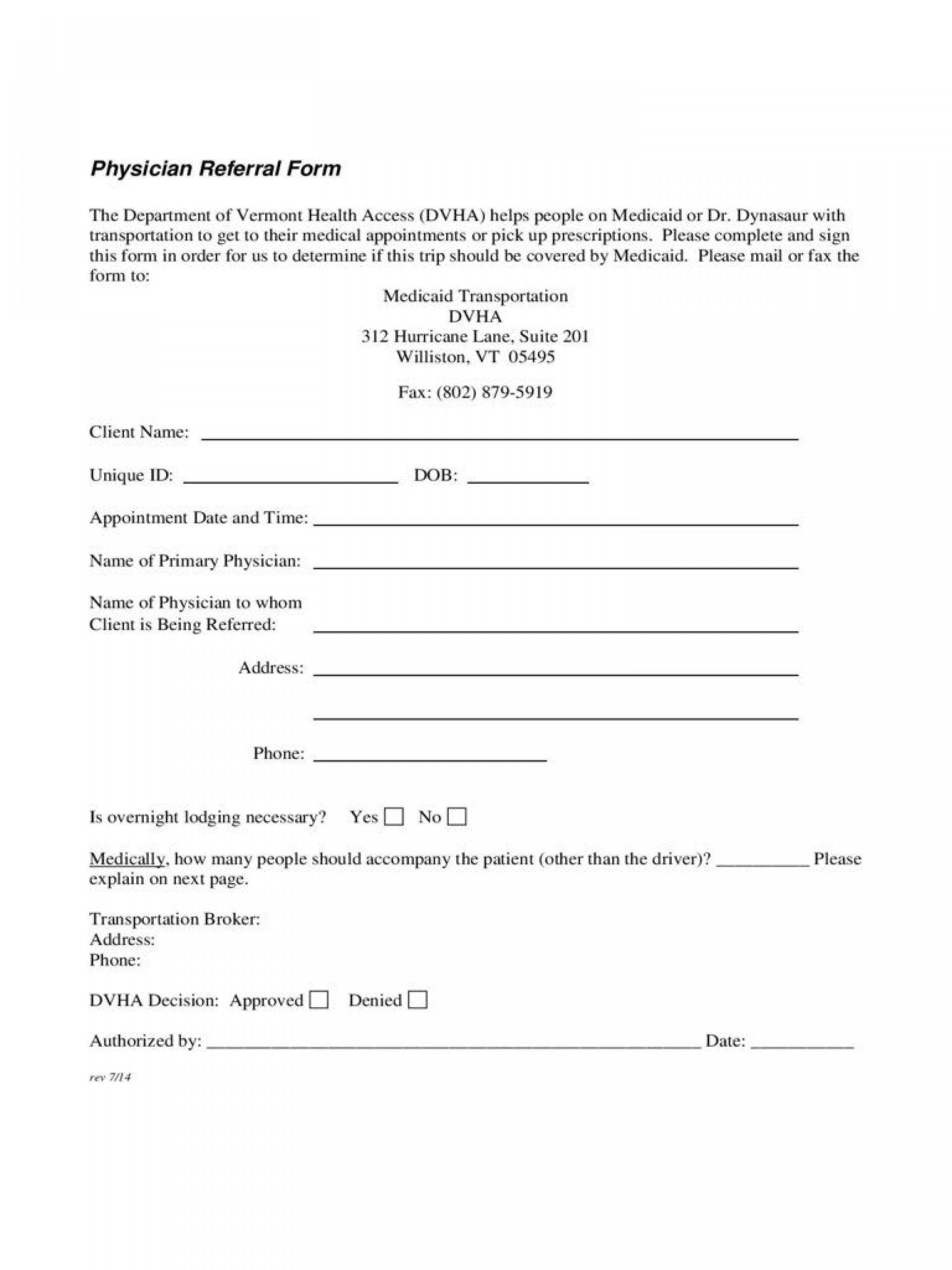 005 Imposing Medical Referral Form Template Highest Clarity  Dental Patient Doctor Free Physician1920
