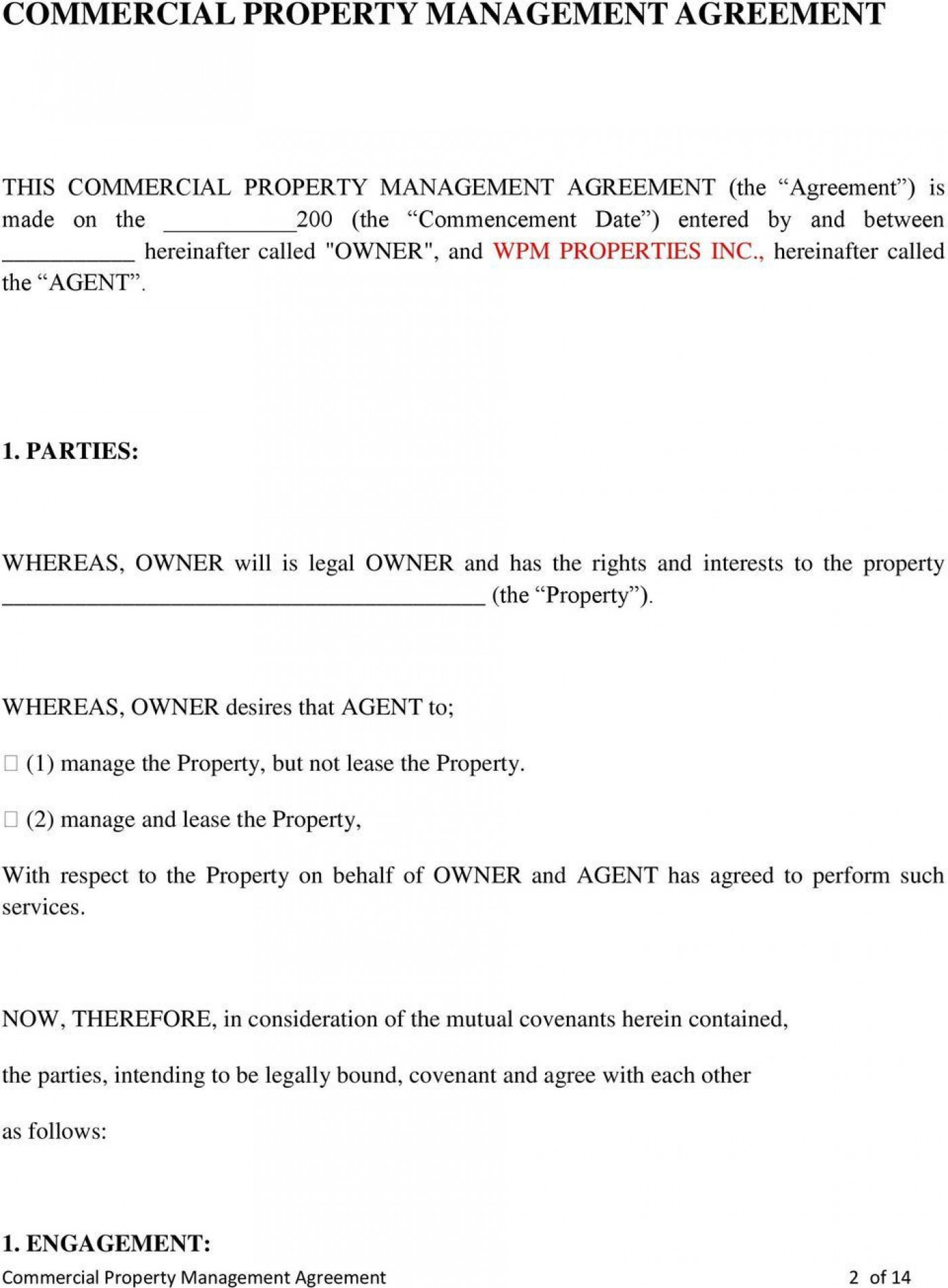 005 Imposing Property Management Contract Form Sample  Agreement Template Ontario1400