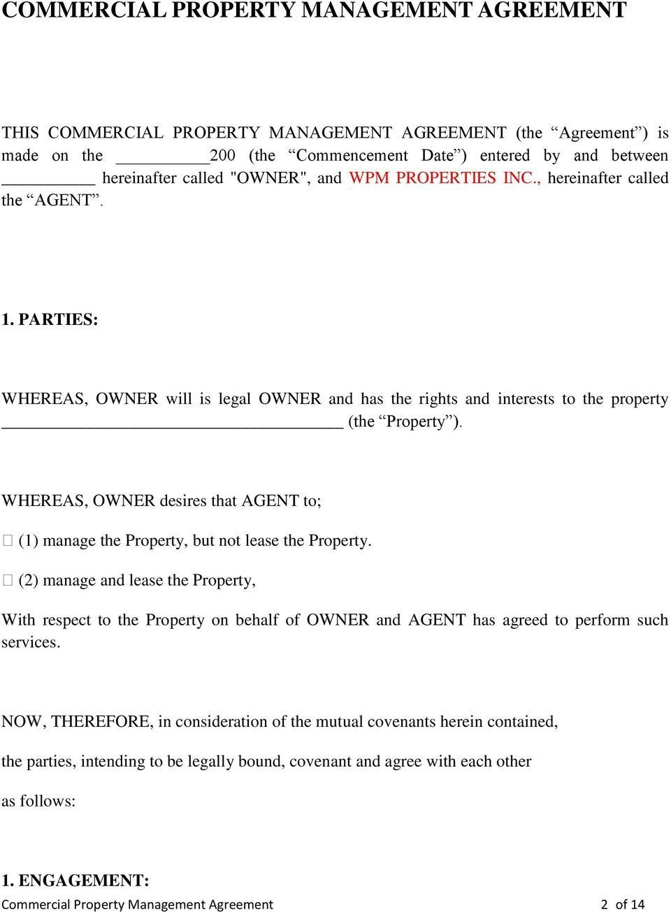 005 Imposing Property Management Contract Form Sample  Agreement Template Ontario960