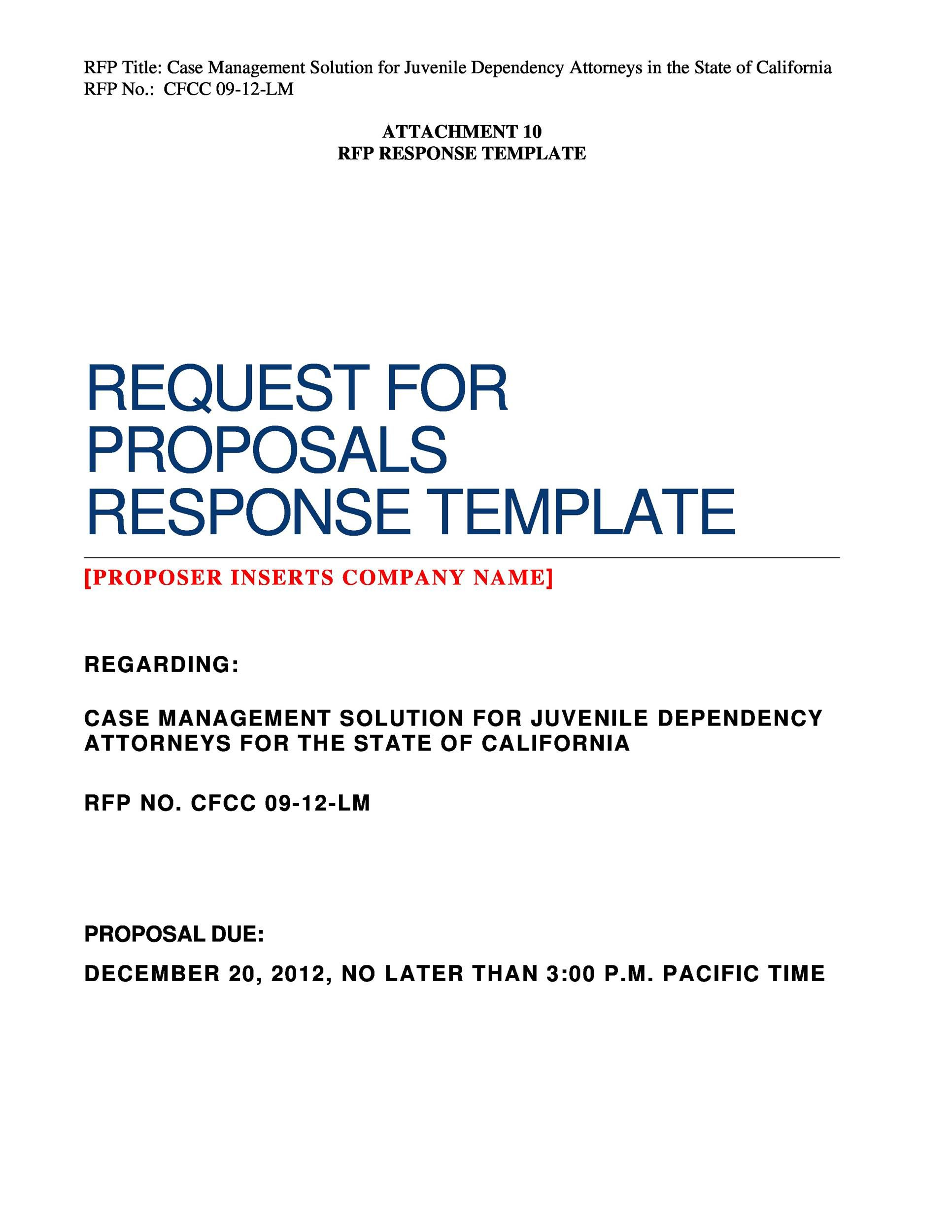 005 Imposing Request For Proposal Response Word Template Design Full