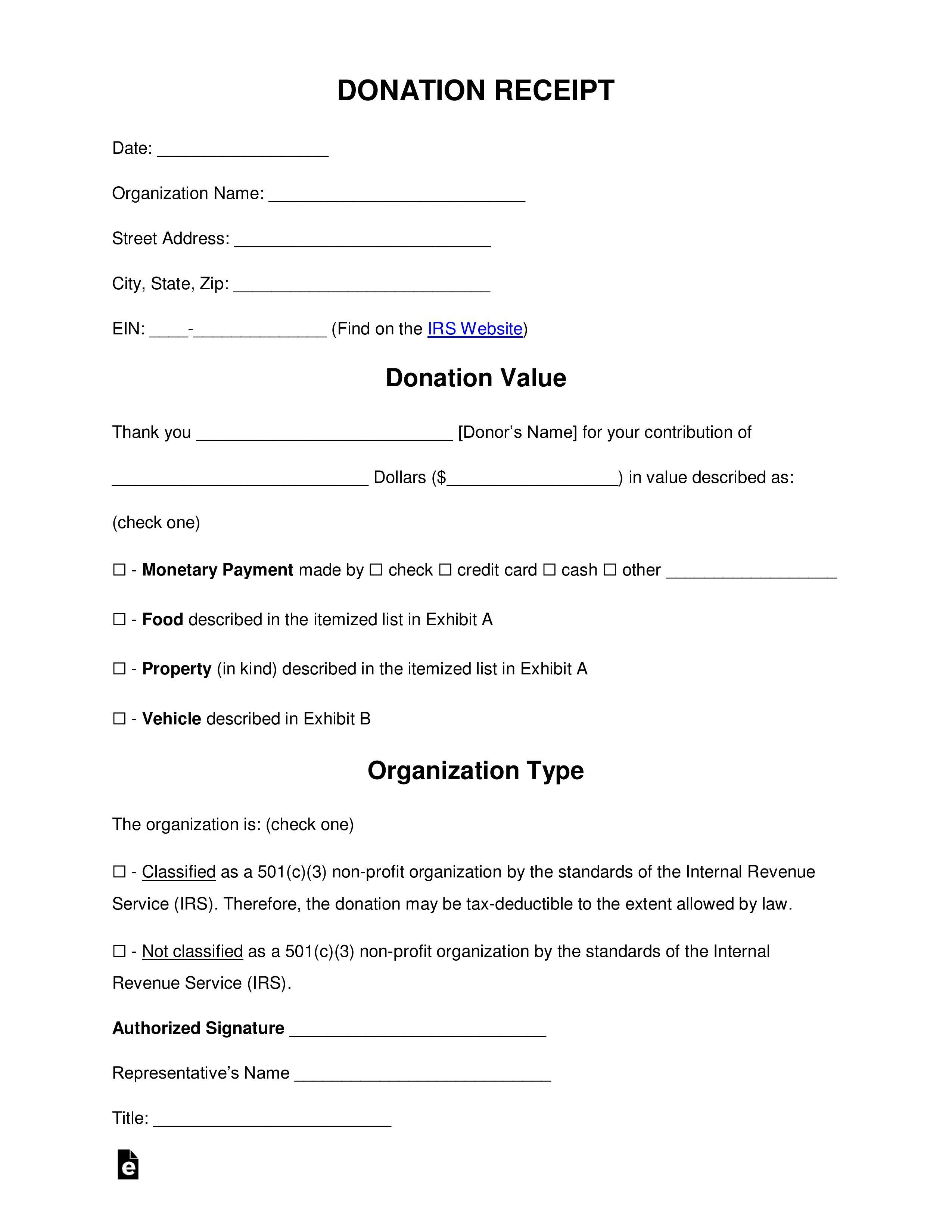 005 Imposing Tax Donation Form Template Idea  Ir Charitable Receipt Deductible ExampleFull