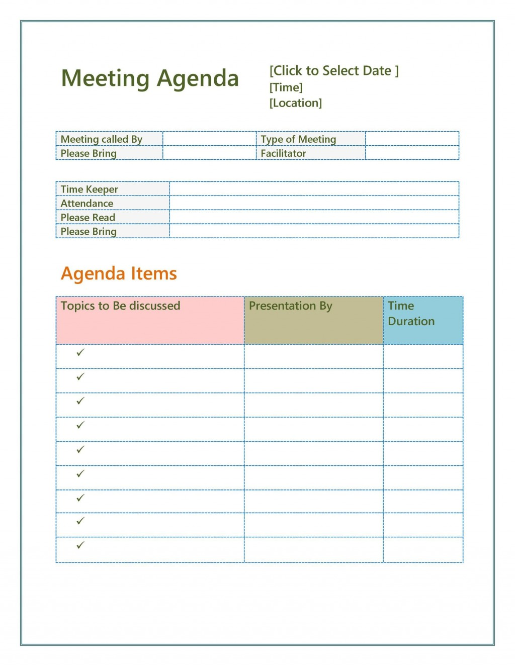 005 Imposing Team Meeting Agenda Template Inspiration  Word DocLarge