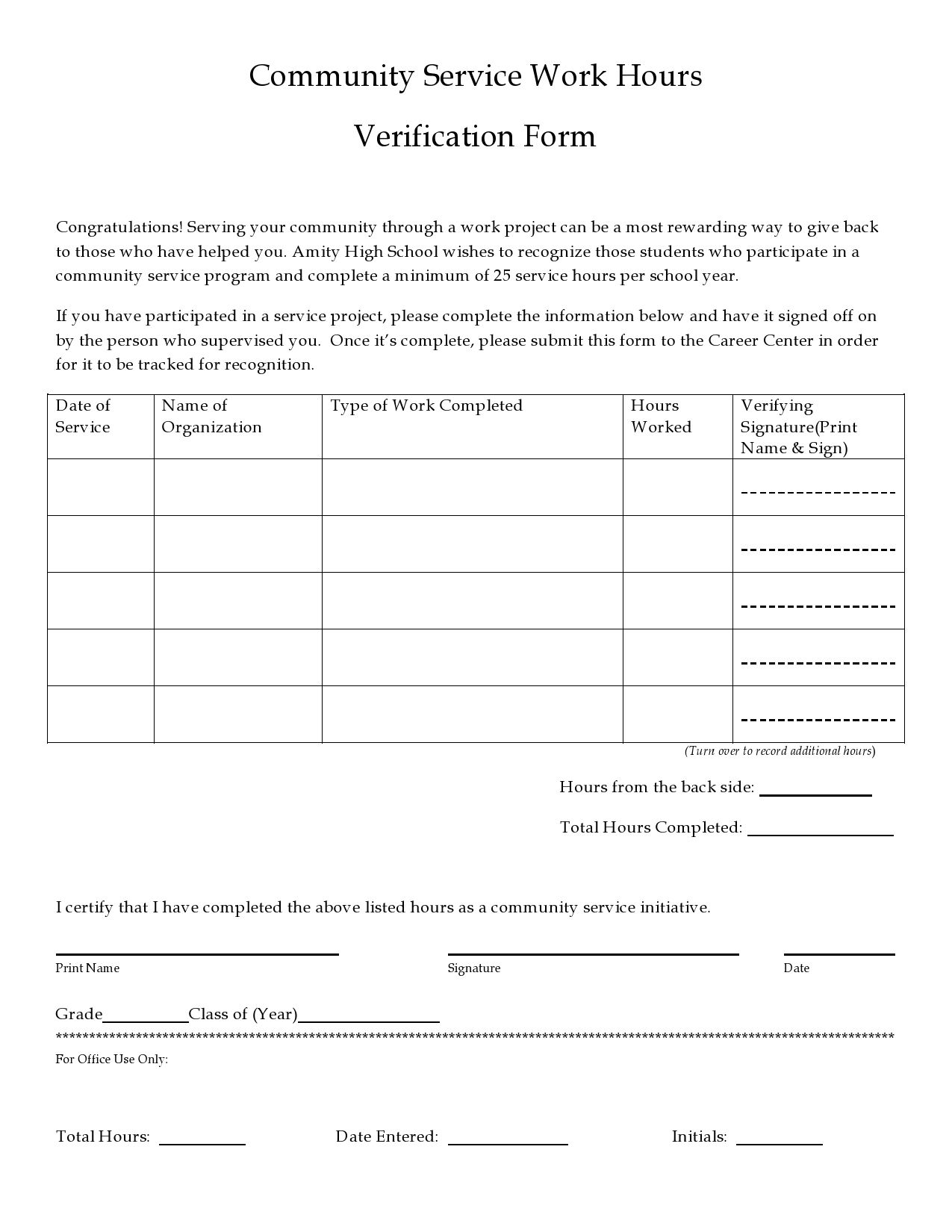 005 Imposing Volunteer Hour Form Template Photo  Service Community PdfFull