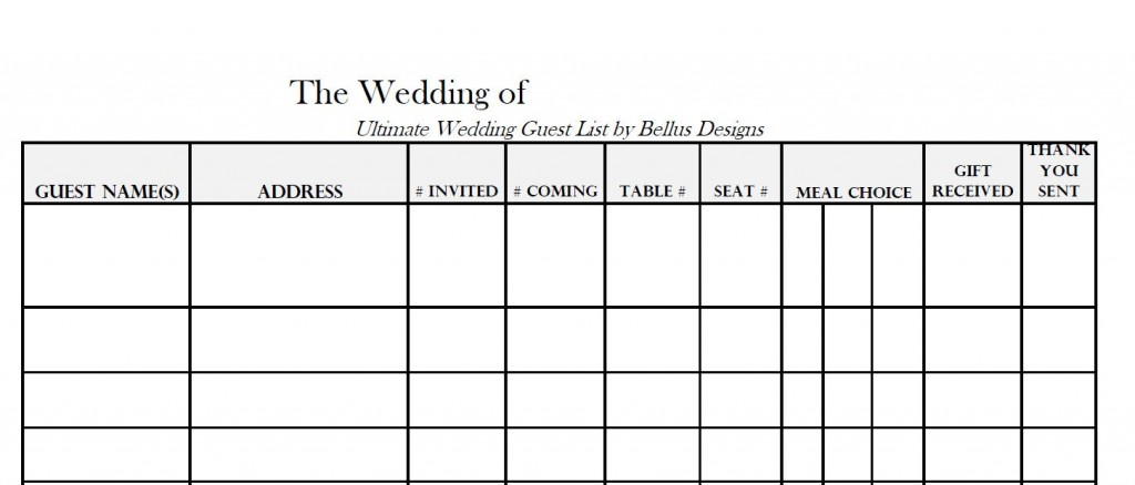 005 Imposing Wedding Guest List Template Excel Download Photo Large