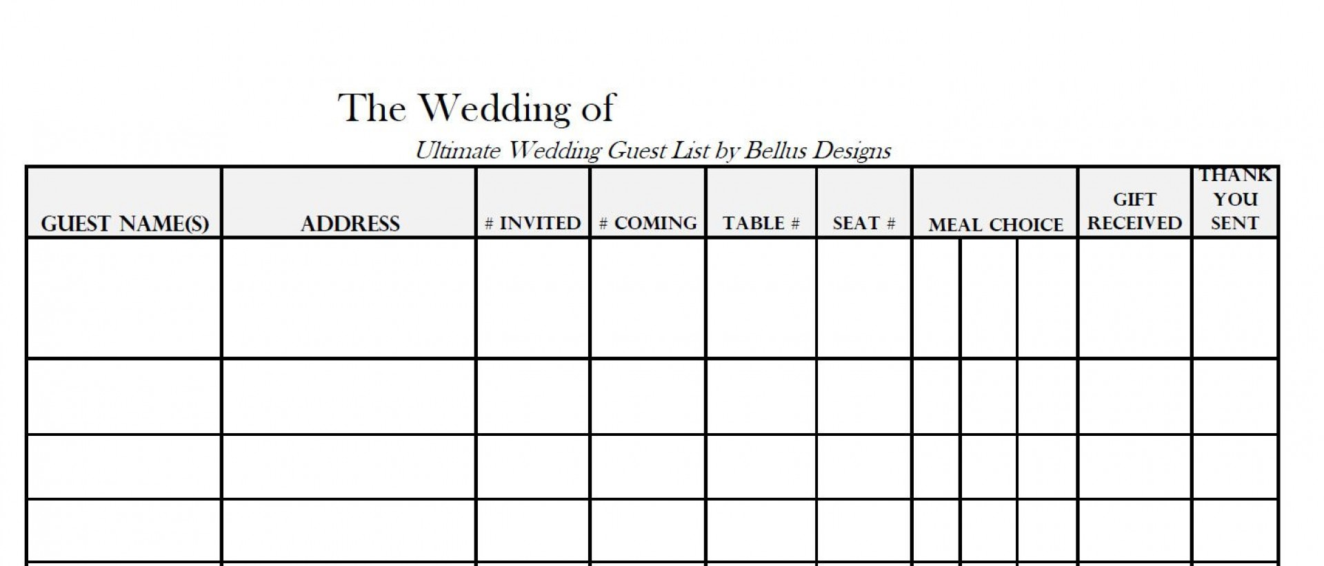 005 Imposing Wedding Guest List Template Excel Download Photo 1920