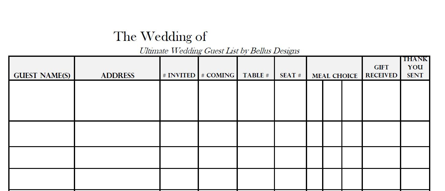 005 Imposing Wedding Guest List Template Excel Download Photo Full