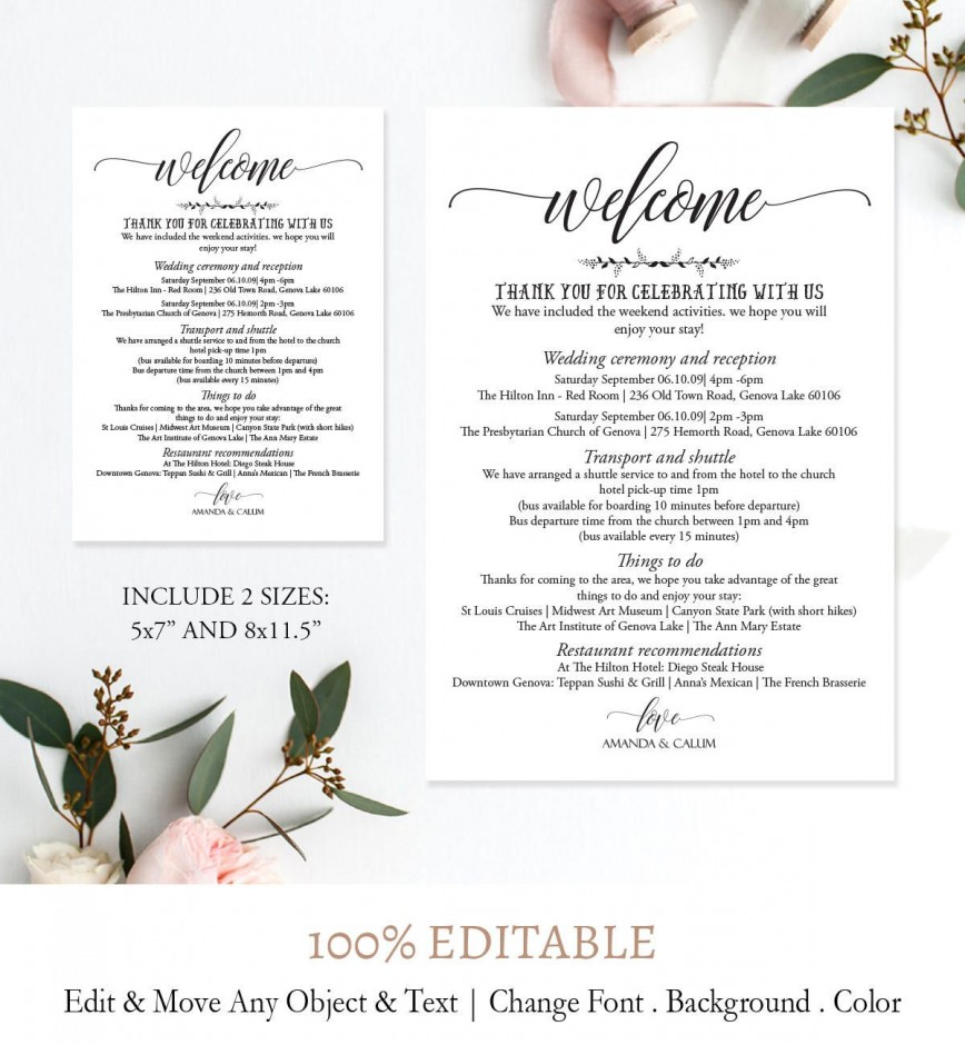 005 Imposing Wedding Weekend Itinerary Template Picture  Day Timeline Word Sample868