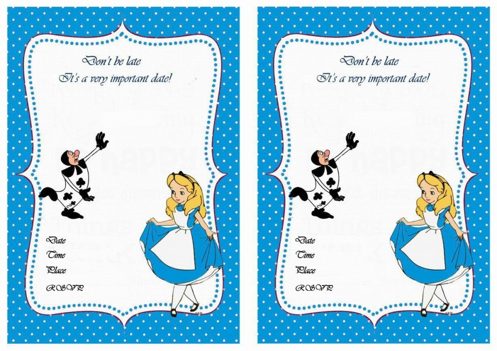 005 Impressive Alice In Wonderland Birthday Party Invitation Printable Free High Def Large