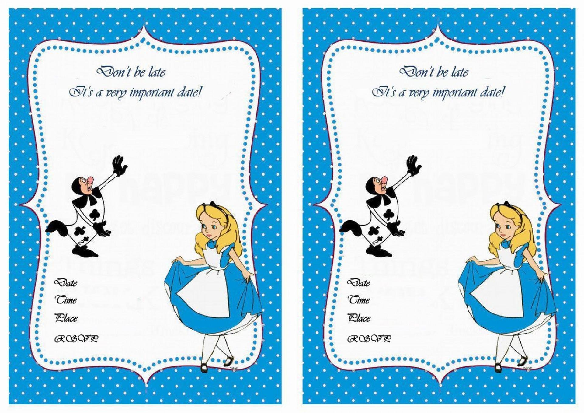 005 Impressive Alice In Wonderland Birthday Party Invitation Printable Free High Def 1920
