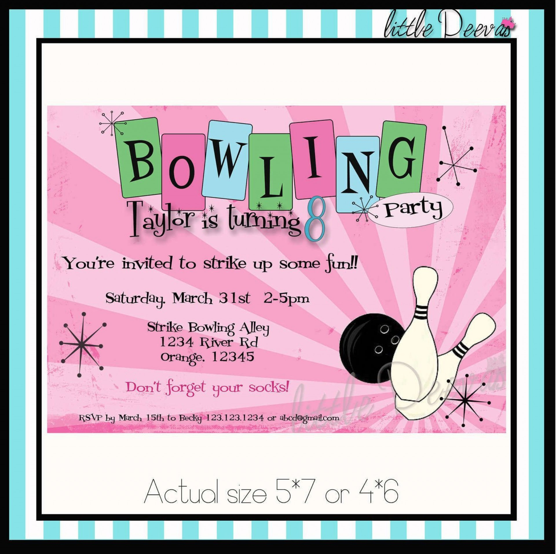 005 Impressive Bowling Party Invite Printable Free Example  Birthday Invitation Girl1920
