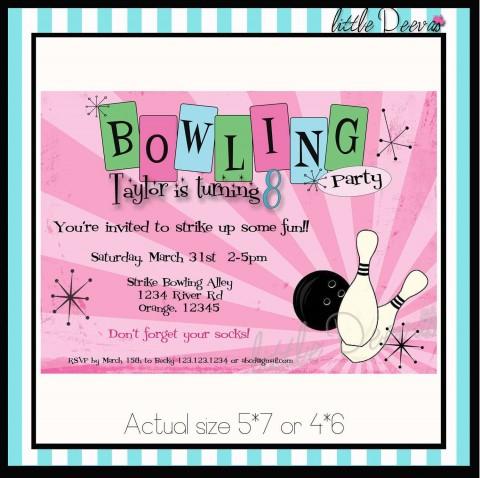 005 Impressive Bowling Party Invite Printable Free Example  Birthday Invitation480