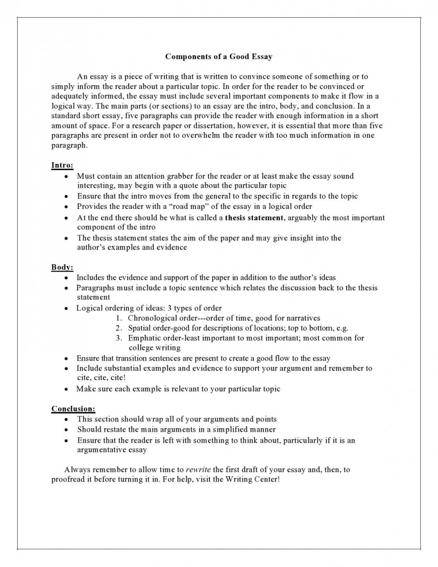 005 Impressive College Essay Format Example Idea  Examples Application Sample Outline