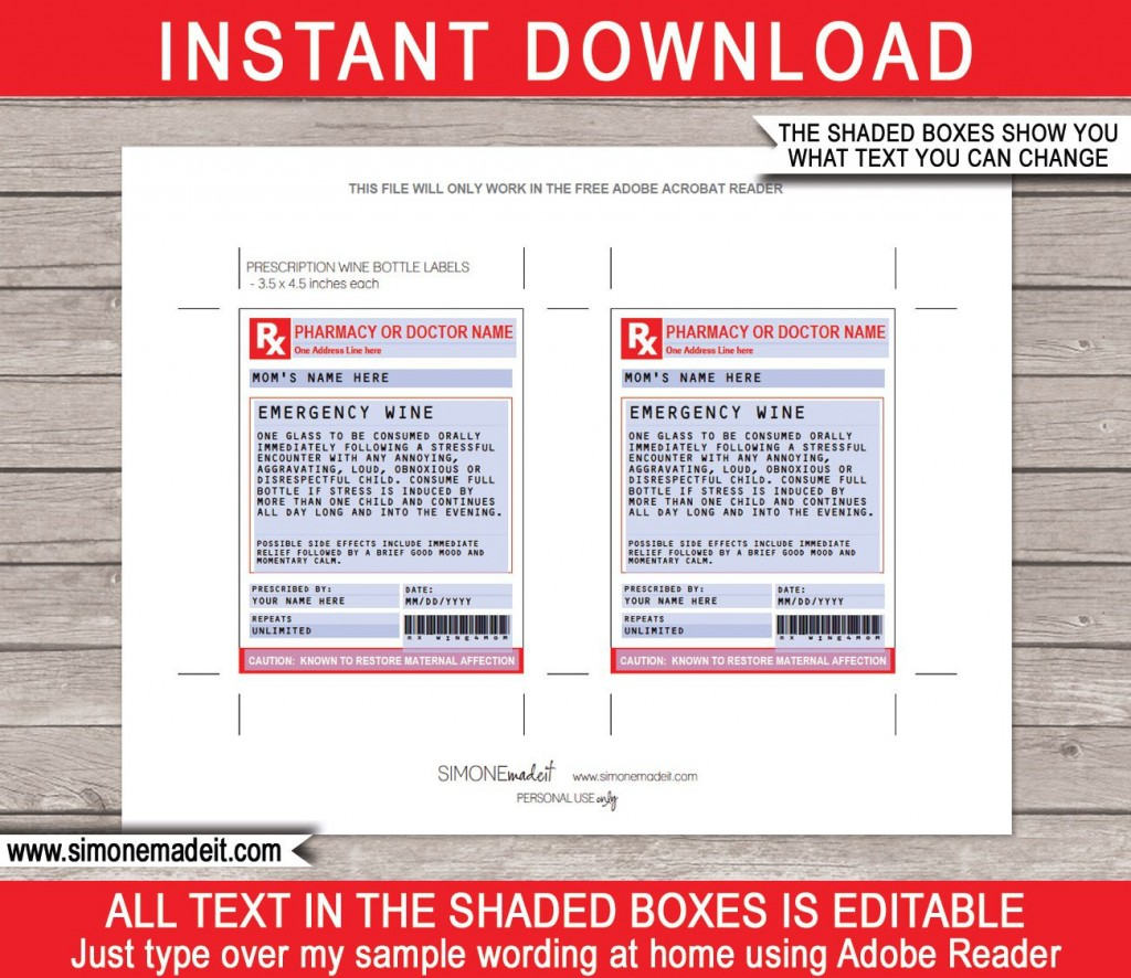 005 Impressive Fake Prescription Label Template Idea  Walgreen BottleLarge