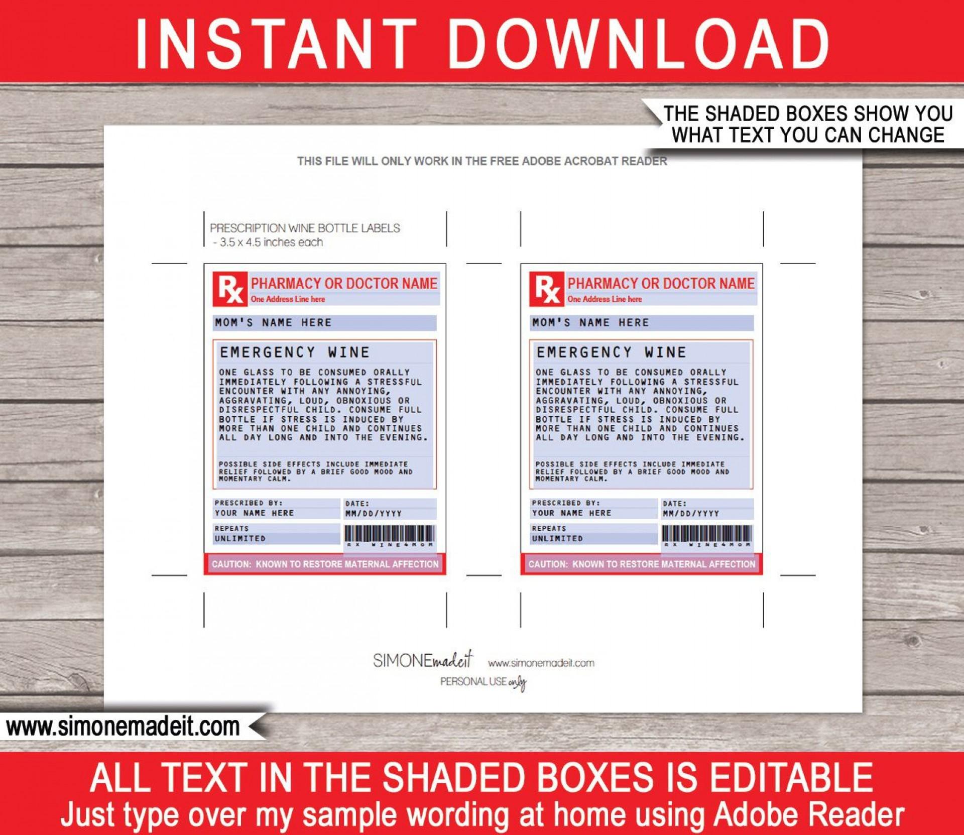 005 Impressive Fake Prescription Label Template Idea  Walgreen Bottle1920