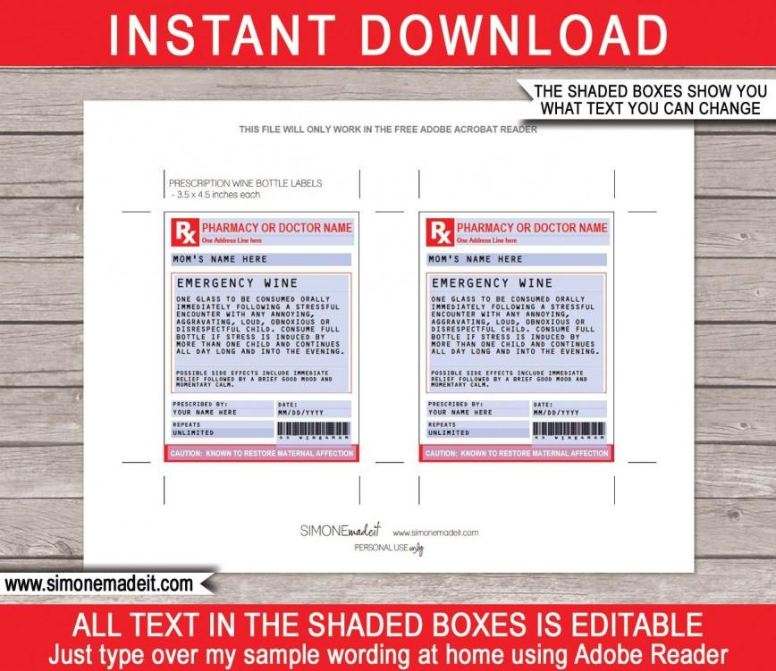 005 Impressive Fake Prescription Label Template Idea  Bottle